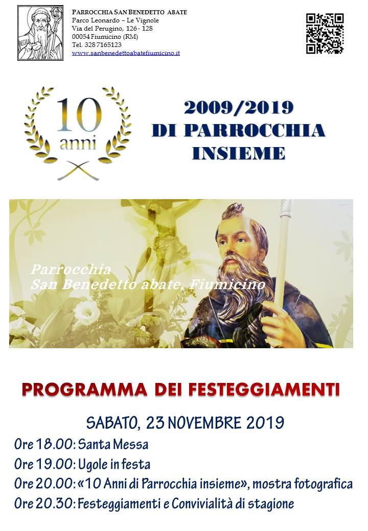 10 anni parrocchia S. Benedetto abate